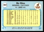 1982 Fleer #364  Bo Diaz  Back Thumbnail
