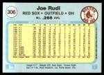 1982 Fleer #306  Joe Rudi  Back Thumbnail