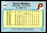 1982 Fleer #248  Garry Maddox  Back Thumbnail