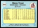 1982 Fleer #358  Steve Trout  Back Thumbnail