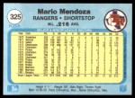 1982 Fleer #325  Mario Mendoza  Back Thumbnail