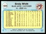 1982 Fleer #626  Ernie Whitt  Back Thumbnail