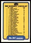 1982 Fleer #647   Yankees / Dodgers Checklist Front Thumbnail