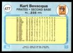 1982 Fleer #477  Kurt Bevacqua  Back Thumbnail