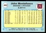 1982 Fleer #442  John Montefusco  Back Thumbnail