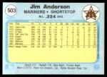 1982 Fleer #503  Jim Anderson  Back Thumbnail