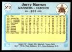1982 Fleer #513  Jerry Narron  Back Thumbnail