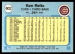 1982 Fleer #602  Ken Reitz  Back Thumbnail