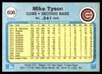 1982 Fleer #606  Mike Tyson  Back Thumbnail
