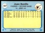 1982 Fleer #567  Juan Bonilla  Back Thumbnail