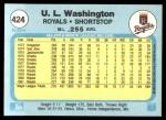 1982 Fleer #424  U.L. Washington  Back Thumbnail