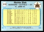 1982 Fleer #519  Richie Zisk  Back Thumbnail
