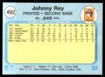 1982 Fleer #492  Johnny Ray  Back Thumbnail