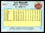 1982 Fleer #533  Lee Mazzilli  Back Thumbnail