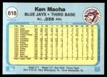 1982 Fleer #618  Ken Macha  Back Thumbnail