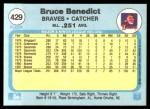 1982 Fleer #429  Bruce Benedict  Back Thumbnail