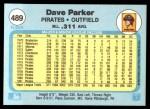 1982 Fleer #489  Dave Parker  Back Thumbnail