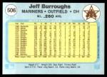 1982 Fleer #506  Jeff Burroughs  Back Thumbnail