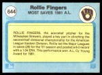 1982 Fleer #644   -  Rollie Fingers Most Saves Back Thumbnail