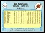 1982 Fleer #402  Ed Whitson  Back Thumbnail