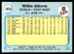 1982 Fleer #404  Willie Aikens  Back Thumbnail