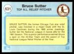 1982 Fleer #631  Bruce Sutter  Back Thumbnail