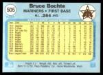 1982 Fleer #505  Bruce Bochte  Back Thumbnail