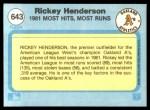 1982 Fleer #643   -  Rickey Henderson In Action Back Thumbnail