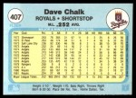 1982 Fleer #407  Dave Chalk  Back Thumbnail