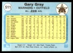 1982 Fleer #511  Gary Gray  Back Thumbnail