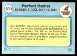 1982 Fleer #639   -  Len Barker / Bo Diaz Perfect Game Back Thumbnail