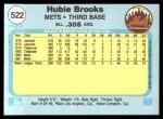 1982 Fleer #522  Hubie Brooks  Back Thumbnail