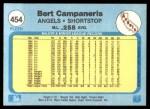 1982 Fleer #454  Bert Campaneris  Back Thumbnail