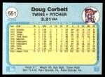 1982 Fleer #551  Doug Corbett  Back Thumbnail