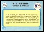 1982 Fleer #638  Gary Carter  /  Dave Parker  Back Thumbnail
