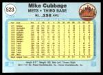 1982 Fleer #523  Mike Cubbage  Back Thumbnail
