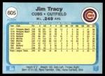 1982 Fleer #605  Jim Tracy  Back Thumbnail