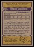1979 Topps #463  Terdell Middleton  Back Thumbnail