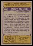 1979 Topps #441  Tony McGee  Back Thumbnail