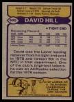 1979 Topps #509  David Hill  Back Thumbnail