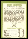 1963 Fleer #25  Bobby Richardson  Back Thumbnail