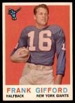 1959 Topps #20  Frank Gifford  Front Thumbnail