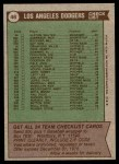 1976 Topps #46   -  Walter Alston Dodgers Team Checklist Back Thumbnail
