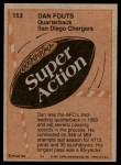 1981 Topps #153   -  Dan Fouts Super Action Back Thumbnail