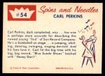 1960 Fleer Spins and Needles #54  Carl Perkins  Back Thumbnail