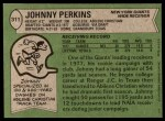 1978 Topps #311  Johnny Perkins  Back Thumbnail