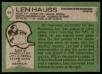 1978 Topps #51  Len Hauss  Back Thumbnail