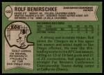 1978 Topps #122  Rolf Benirschke  Back Thumbnail