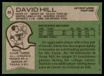 1978 Topps #26  David Hill  Back Thumbnail