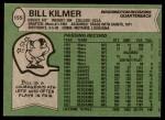 1978 Topps #155  Billy Kilmer  Back Thumbnail